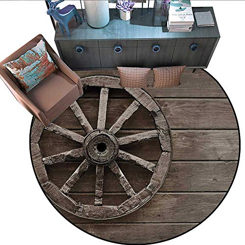 Barn Wood Wagon Wheel Round Soft Area Rugs Antique Aged Carriage Vehicle Wheel on The Wall of Barn Grunge Western Perfect for Any Room, Floor Carpet (59