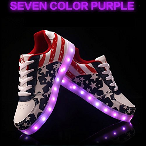 [Present:small towel]JUNGLEST® 7 Colors Stars Led Shoes Light Up For Adult Red iQwndDzCT