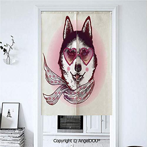 AngelDOU Cartoon Decor Doorway Kitchen Cafe Half Tube Curtain Hipster Husky Dog with Heart Shaped Sunglasses and Scarf Fashion Animal Art Print for Home Party Decoration. 39.3x59 inches