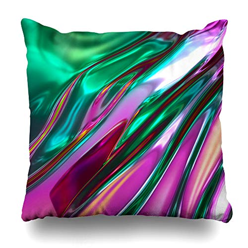 Ahawoso Throw Pillow Cover Futuristic Render Abstract Liquid Glass Holographic Fluorescent Foil Pink Green Neon Colors Graphic Home Decor Pillowcase Square Size 20