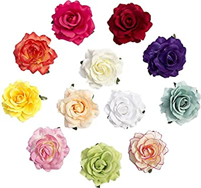 Cute Two Methods of Use 4 inches 3D Simulation Real Fabric Girls' Rose Flower Alligator Hair Clips With Pin Non Slip Set of 12 Pcs