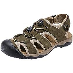 DADAWEN Men's Sport Sandals Trail Outdoor Water Shoes Khaki US Size 8.5