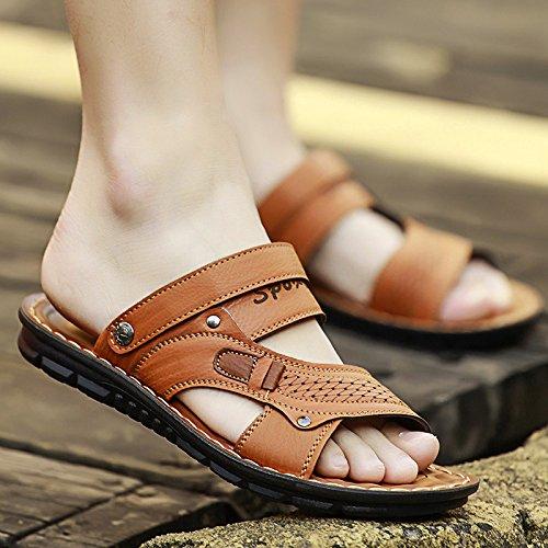 Xing Lin Sandali Di Cuoio Estate Sandali Uomini Tendenze Moda Sia A Basse Pantofole Abbigliamento Da Uomo Antiscivolo Spiaggia Casual Scarpe Guidato Pantofole Uomini E ,38,8805 Giallo