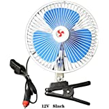 Mini Fan PINWEI Electric Car Fans Car Clip Fan Automobile Vehicle Cooling Car Fan Powerful Quiet Speedless Ventilation Electric Car Fans With Clip Cigarette Lighter (12v-8inch)