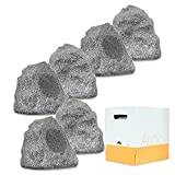 Theater Solutions 6R4G Outdoor Granite Rock 6 Speaker Set with Wire for Deck Pool Spa Patio Garden