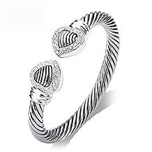 UNY Double Heart wire cable cuff Bangle Pave Stone Unique Elegant Bangle for women fashion jewelry