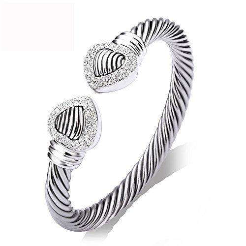 UNY Double Heart wire cable cuff Bangle Pave Stone Unique Elegant Bangle for women fashion jewelry