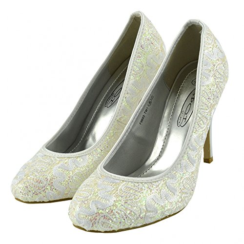 Kick Footwear - Ladies Classic Court Glittery Shoes Womens Party Wedding Bridal High Heels White ANFajvmqI