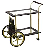 Uniquewise 2-Tier Brass-Wood Serving Tea Cart With Clear Tempered Glass
