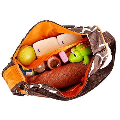 Prochive Bolsos Cambiadores de Bebé Mochila Para Carrito Cambiar Pañal Multifunctional para Madre Dibujo Animal Jirafa Gran Espacio 40x15x30cm Marrón Verde Orange