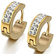 Flongo Men's Womens 4mm Wide Stainless Steel CZ Stud Hoop Huggie Earrings Charm Elegant