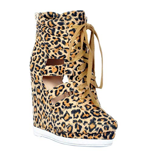 Shoes Wadge Boots Style Heel Casual Lace CASSOCK Autumn up Fashion Vintage Leopard Handmade Ladies 7FIU6