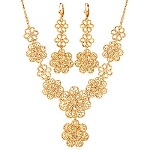 Flower Necklace Plated Dangling Earrings