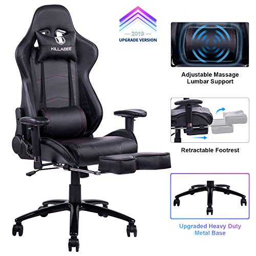 KILLABEE Big and Tall 350lb Massage Gaming Chair Metal Base - Adjustable Massage Lumbar Cushion, Retractable Footrest High Back Ergonomic Leather Racing Computer Desk Executive Office ()