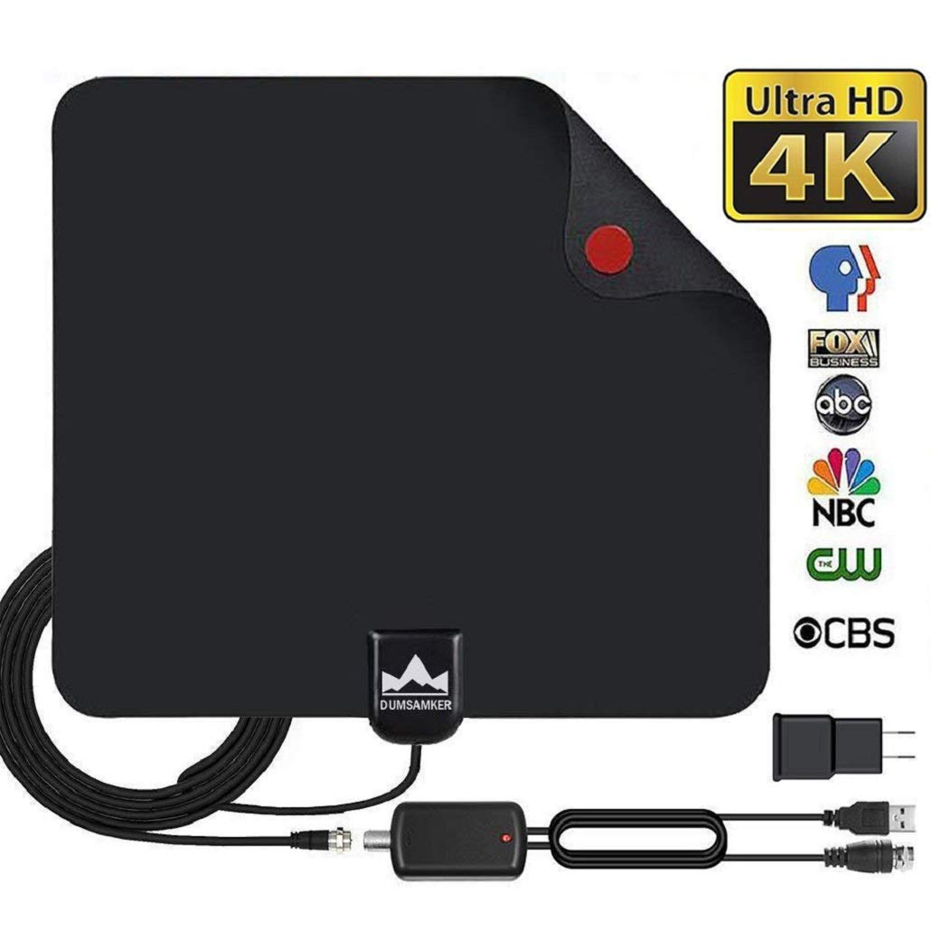 【2019 Latest】 HDTV Antenna Indoor Digital TV Antenna, Dumsamker 120+ Miles Range HD Antenna with Amplifier Signal Booster and 13FT Coaxial Cable - Extremely High Reception by Dumsamker