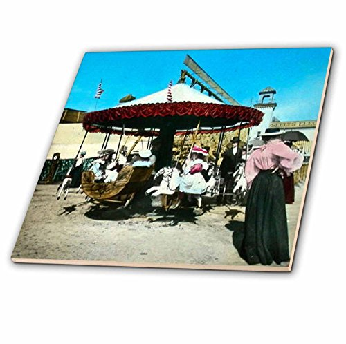 3dRose ct_16109_6 Coney Island 1890s Magic Lantern Slide-Glass Tile, 6-Inch