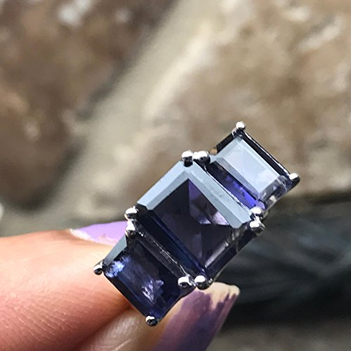 Estate Natural 4ct Iolite { Water Sapphire } 925 Solid Sterling Silver Emerald Cut Ring sz 5.75, 6, 6.75, 7, 8.75, 9 ()