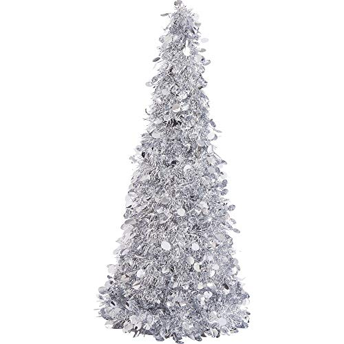Large Silver Tinsel Christmas Tree Table Centerpiece | Party - Table Silver Tree