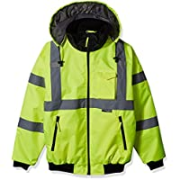Majestic Glove 75-1300 PU Coated Polyester High Visibility Bomber Jacket with Fix Quilted Liner, 3X-Large, Yellow 6