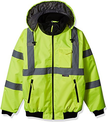 (Majestic Glove 75-1300 PU Coated Polyester High Visibility Bomber Jacket with Fix Quilted Liner, 2X-Large, Yellow)