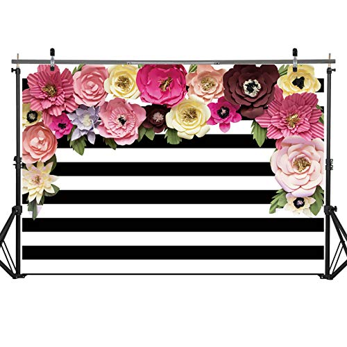 7x5ft Durable/Soft Fabric Black and White Stripes Backdrop with Floral for Wedding Bridal Baby Shower Birthday Bachelorette Party Photography Background Suopplies Decorations Photo Studio Props Banner ()