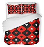 Emvency 3 Piece Duvet Cover Set Brushed Microfiber Fabric Breathable Alice Suits Red Black White Chess Board Diamond Blackjack Casino Abstract Check Bedding Set with 2 Pillow Covers Full/Queen Size