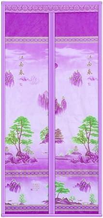 YXH-ZZY Cortina magnética, Verano Anti-Mosquito Feng Shui Paisaje Velcro Mute cifrado Auto-succión Cortina de partición, Adecuado para el Dormitorio de la Cocina,Purple,48 * 87inch: Amazon.es: Hogar