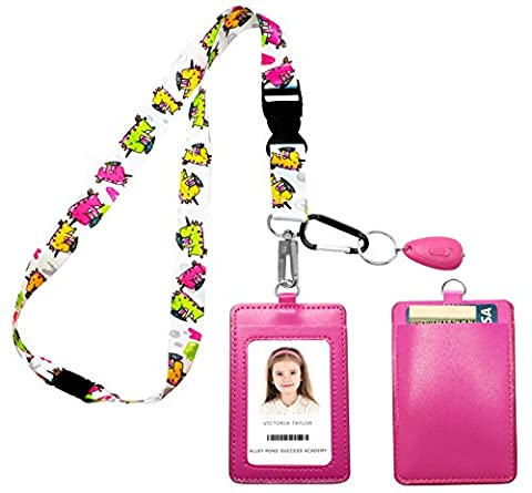 Unicorn Loves Ice Cream Print Lanyard with PU Leather ID Badge Holder Wallet with 2 Card Pockets, Safety Breakaway Clip. Carabiner Keychain Flashlight. Lanyard For Kids, Cruise or - Identification Badge Attachment