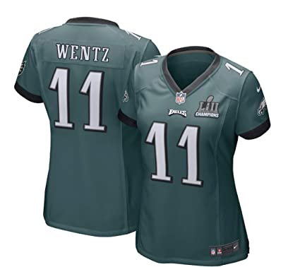 2dc4a544a98 Nike Carson Wentz Philadelphia Eagles Women's Super Bowl LII Champions  Patch Game Jersey – Midnight Green