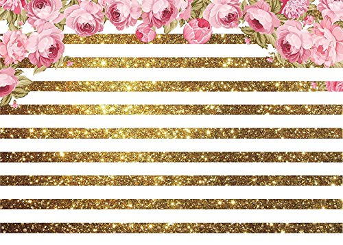 7x5ft Golden White Stripe Watercolor Flowers Backdrop Party Cake Table Photography Background Wedding Reception Sweet Anniversary Kids Adult Happy Birthday Carnival Baby Photo -