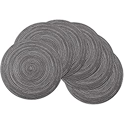 SHACOS Round Table Placemats Set of 6, Washable Round Placemat 15 inch Cotton Table Mats Decorative for Holiday Party (Black Grey, 6)