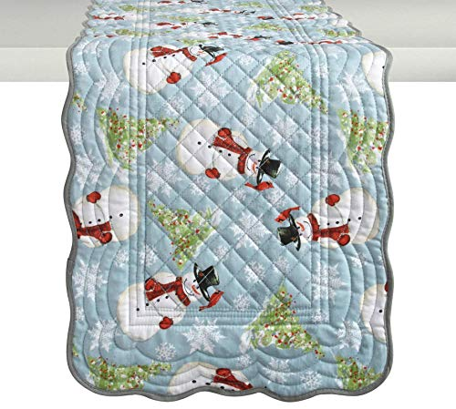 Nantucket Home Light Blue Christmas Snowman & Trees Quilted Table Runner, 72