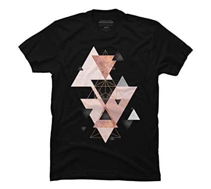 990845e32 Geometric Triangles in Blush and Rose Gold Men's Small Black Graphic T Shirt