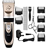 Electric Pet Grooming Clippers, OMorc Rechargeable Cordless Pet Hair Shaver, Grooming Trimmer Kit, with Low Noise Low Vibration, Cordless Pet Fur Grooming Set with 6 Comb Guides,Stainless Steel Comb Stainless Steel Scissor and Cleaning Brush for Cats and Dogs