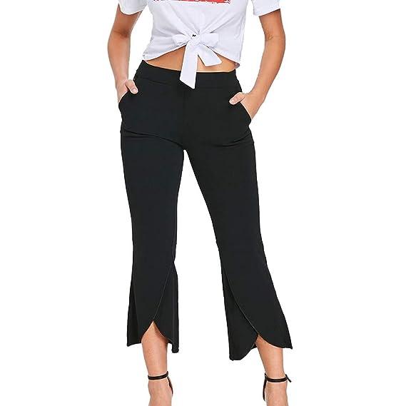 Pantalones Ajustado 3 4 para Mujer Otoño Invierno 2018 Moda PAOLIAN Casual  Pantalones Vestir Cintura Alta Volantes señora Pantalones Uniformes de  Trabajo ... d47228a1c45
