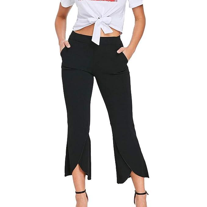Pantalones Ajustado 3/4 para Mujer Otoño Invierno 2018 Moda PAOLIAN Casual Pantalones Vestir Cintura Alta Volantes señora Pantalones Uniformes de Trabajo ...