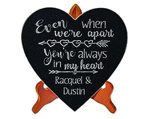 Parejas aniversario diseño de flores de corazón con texto en inglés para marido esposa 50th aniversario regalo personalizado regalo de compromiso personalizado–placa decorativa de boda par Patio jardín piedra con soporte