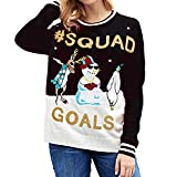 WOCACHI Final Clear Out Womens Blouses Christmas Letter Print Snowman Sweatshirt Tops Pullover Black Friday Cyber Monday Winter Autumn Xmas Reindeer Bottoming Shirts Black
