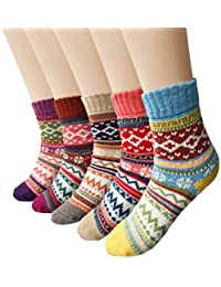 5 Pairs Womens Vintage Style Winter Soft Warm Thick Knit...