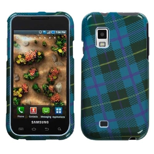 Blue Plaid Weave Phone Protector Faceplate Cover For SAMSUNG i500(Fascinate), i500(Mesmerize)