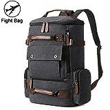 Yousu Canvas Backpack, Mens Large Travel Duffel Bags Fashion Multi Functional College Backpacks School Rucksack Vintage Outdoor Traveling Daypack Black