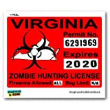 Virginia VA Zombie Hunting License Permit Red - Biohazard Response Team - Window Bumper Locker Sticker