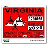 Graphics and More Virginia VA Zombie Hunting License Permit Red - Biohazard Response Team - Window Bumper Locker Sticker