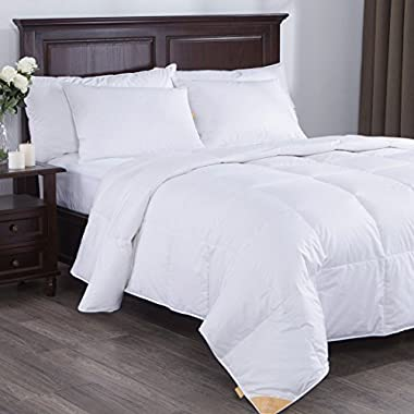 Puredown Lightweight White Goose Down Comforter Duvet Insert 300 Thread Count 100% Cotton Fabric, 600 Fill Power, King Size, White