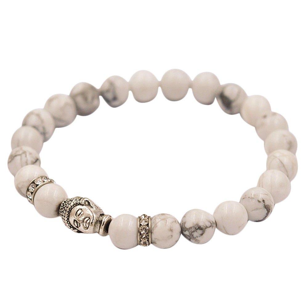 Alueeu Crystal Necklace Pendant Stainless Bracelet Silver Buddha Elastic Beaded Bracelet Tibet Charm Bracelets WH