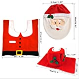 UChic 3Pcs/set Creative Santa Toilet Seat Cover and Rug Bathroom Set Contour Rug Cute Stylish Pattern Sets Toilet Clothes Christmas Decorations Bath Mat Holder Closestool Lid Cover