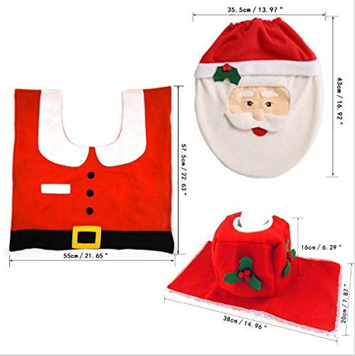 UChic 3Pcs/set Creative Santa Toilet Seat Cover and Rug Bathroom Set Contour Rug Cute Stylish Pattern Sets Toilet Clothes Christmas Decorations Bath Mat Holder Closestool Lid Cover by UChic