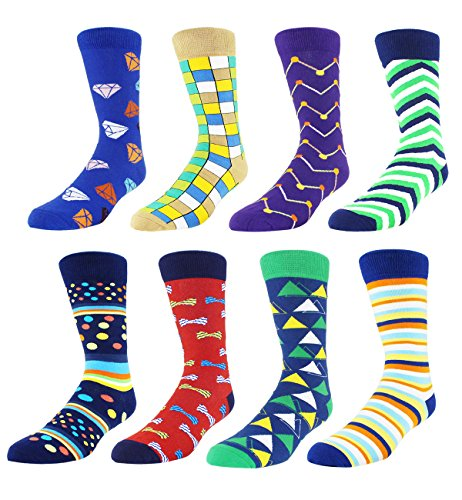 Zmart 8 Pack Men's Dress Socks Colorful, Color Argyle Diamond Striped Cotton Business (Superhero Ring Bearer)