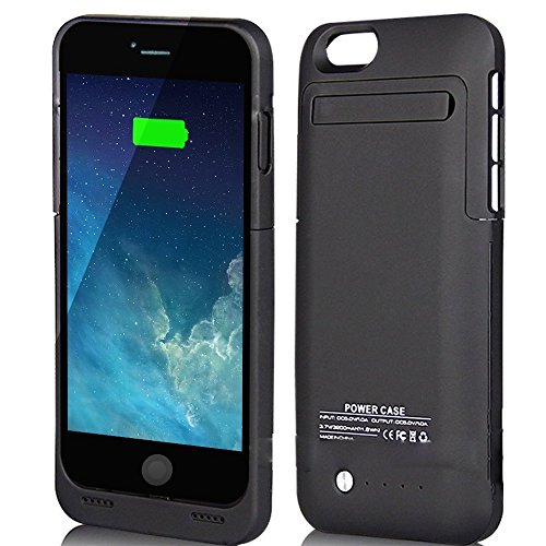 External Protective Battery Case for iphone 6(4.7), Sgrice 3500mAh Extended Battery Case Back Up Power Bank for iPhone 6 Back Up (iOS 7 or above Compatible) , Lightning Charging Port, Kick Stand, Slim Fit Slider Design (black)