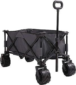 Patio Watcher Collapsible Wagon Folding Utility Wagon Cart Beach Outdoor Garden Camping Sports All Terrain Wagons Heavy Duty, Gray